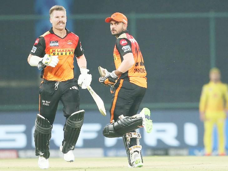 इसके बाद वॉर्नर ने मनीष पांडे के साथ दूसरे विकेट के लिए 83 बॉल पर 106 रन की पार्टनरशिप कर पारी को संभाला।