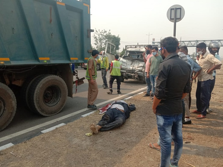 GT रोड पर हादसे के बाद ट्रक ड्राइवर भाग गया। - Dainik Bhaskar