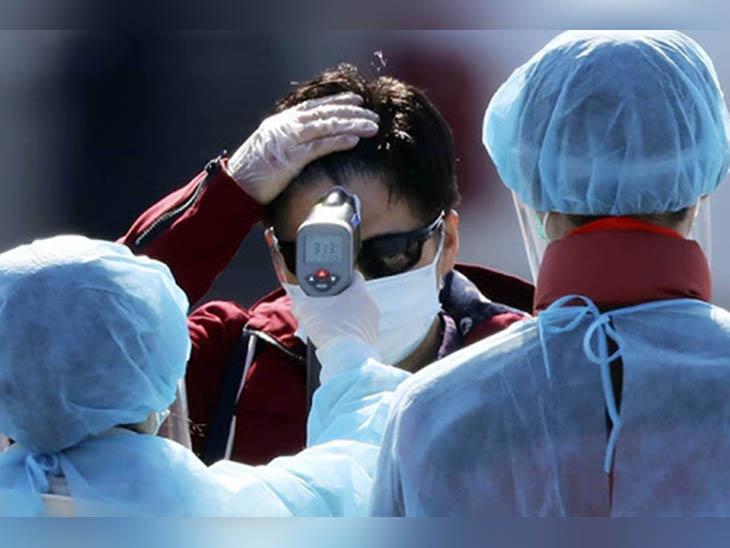 कोरोना संक्रमण के खौफ के बीच एक संदिग्ध का थर्मल स्कैनिंग से चेकअप करते सेहत विभाग की टीम के सदस्य। -फाइल फोटो - Dainik Bhaskar