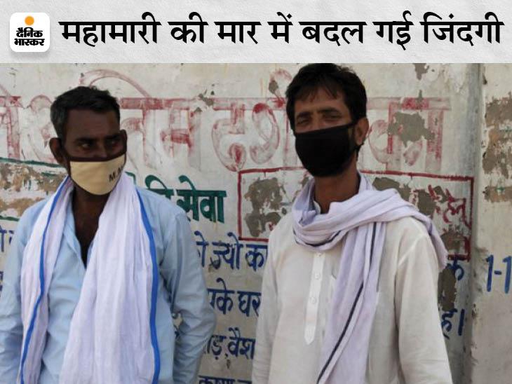दौसा में लॉकडाउन से टैक्सी चलाने का काम-धंधा बंद हो गया तो तीन दिन पहले जयपुर पहुंचे बृजमोहन और मोहनलाल अब एंबुलेंस से शवों को मोक्षधाम लाने का काम करने लगे। - Dainik Bhaskar