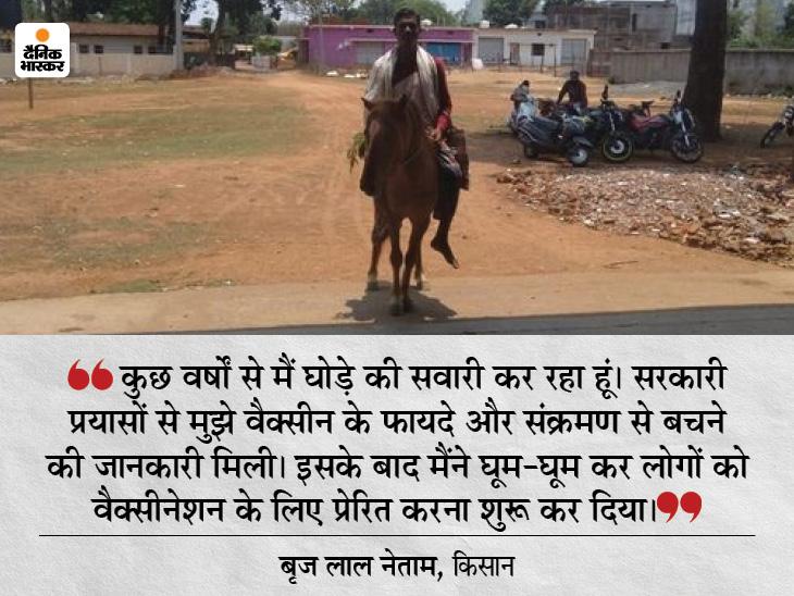 घोड़े पर बैठ कर किसान बृजलाल पहुंचे वैक्सीन लगवाने, कोरोना संक्रमण से बचाव के लिए दूसरों को भी कर रहे जागरूक|छत्तीसगढ़,Chhattisgarh - Dainik Bhaskar