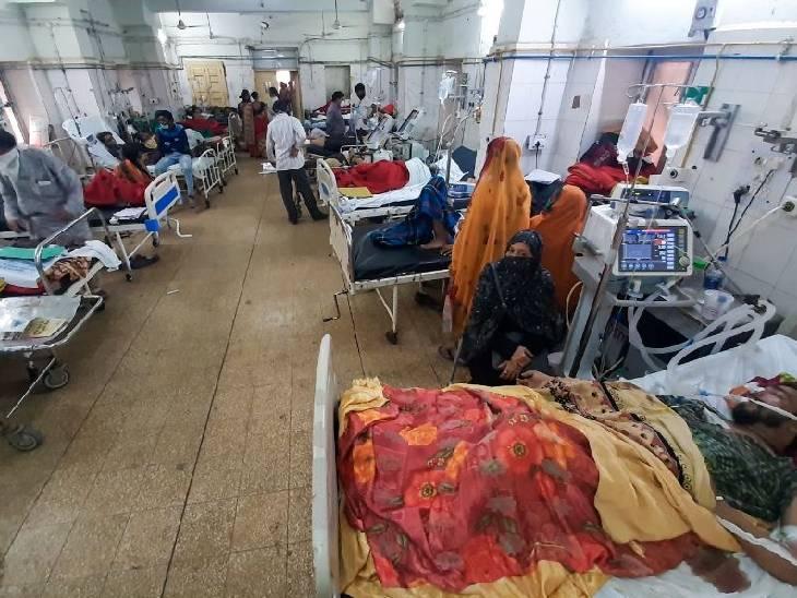 हमीदिया अस्पताल की यह तस्वीर इसी महीने की है, एक भी बेड खाली नहीं था।