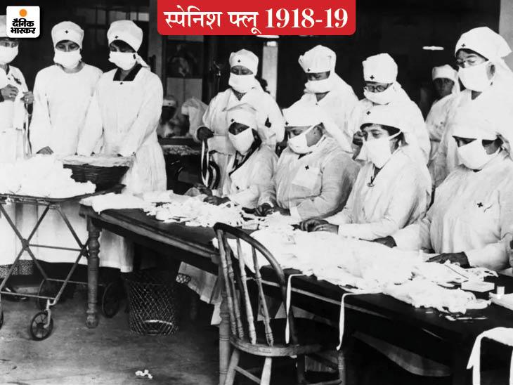 1918 में स्पेनिश फ्लू से फैली महामारी के दौरान गौज से मास्क बनातीं रेड क्रास की महिला कर्मचारी।