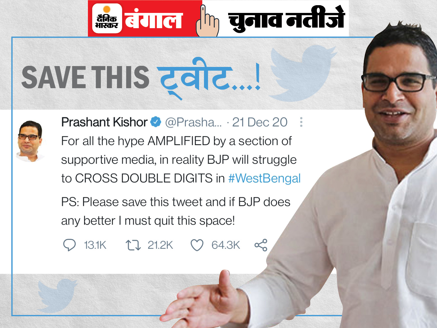 दिसंबर में कहा था- बंगाल में भाजपा डबल डिजिट पार नहीं कर पाएगी, वही हुआ; 10 साल के 9 चुनावों में 8वीं बार सही साबित हुए देश,National - Dainik Bhaskar