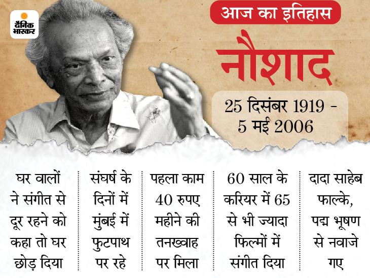 संगीत के जादूगर नौशाद का निधन; संगीत के लिए घर छोड़ा, फुटपाथ पर रहे, 40 रुपए थी पहली कमाई देश,National - Dainik Bhaskar