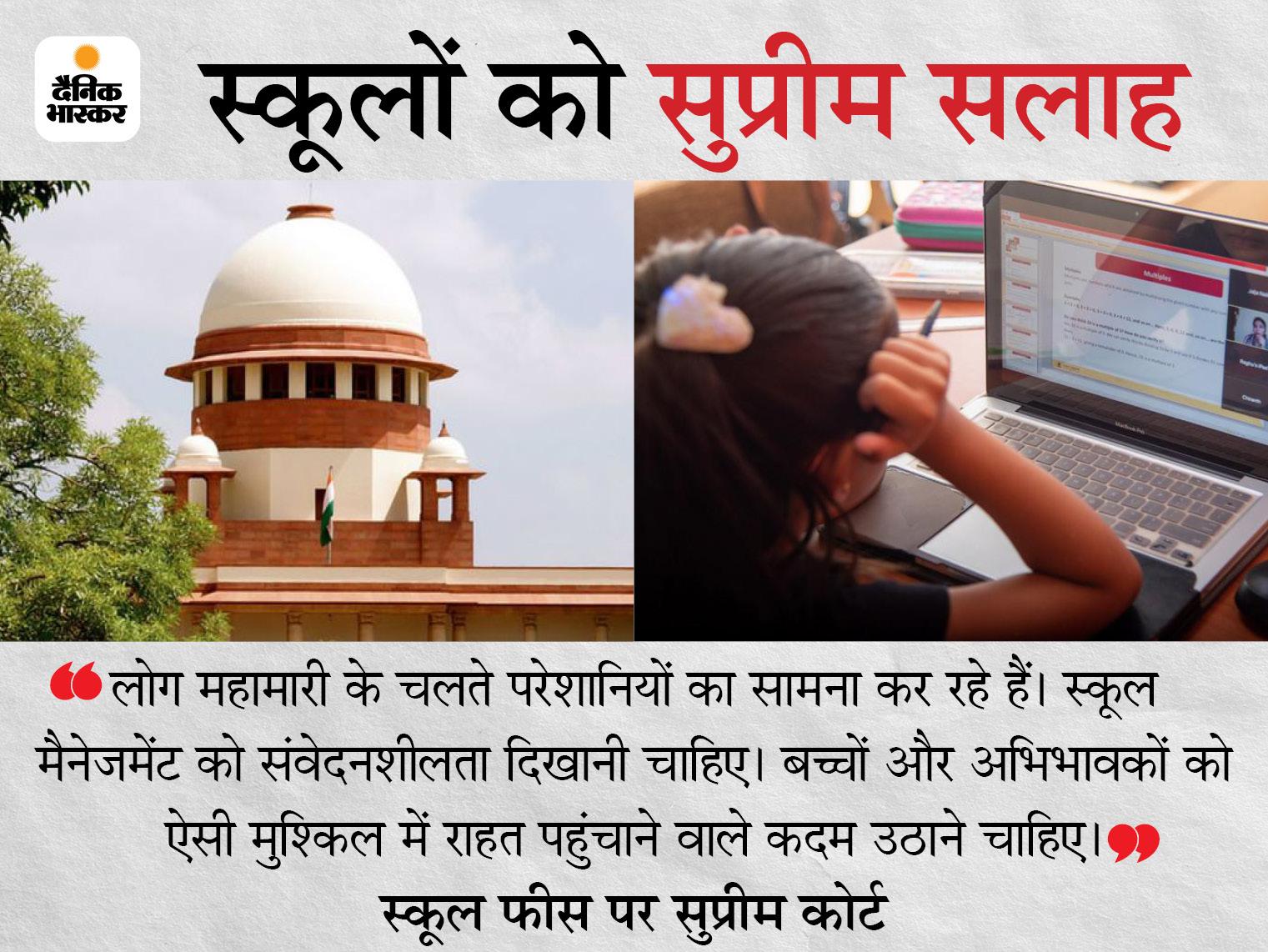 सुप्रीम कोर्ट ने कहा- स्कूल चलाने का खर्च कम हुआ, इसलिए ऑनलाइन क्लासेस की फीस घटानी चाहिए|देश,National - Dainik Bhaskar