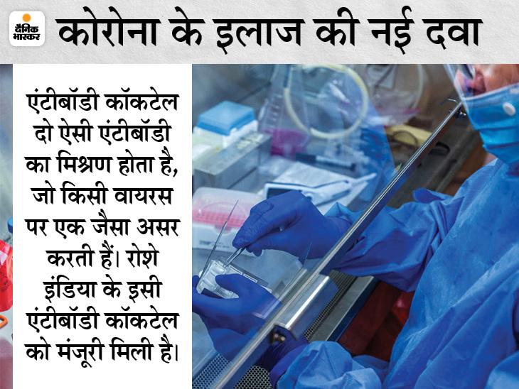 स्विस कंपनी के एंटीबॉडी कॉकटेल को भारत में इमरजेंसी यूज की इजाजत, यूरोप-अमेरिका के डेटा के आधार पर मिला अप्रूवल|देश,National - Dainik Bhaskar