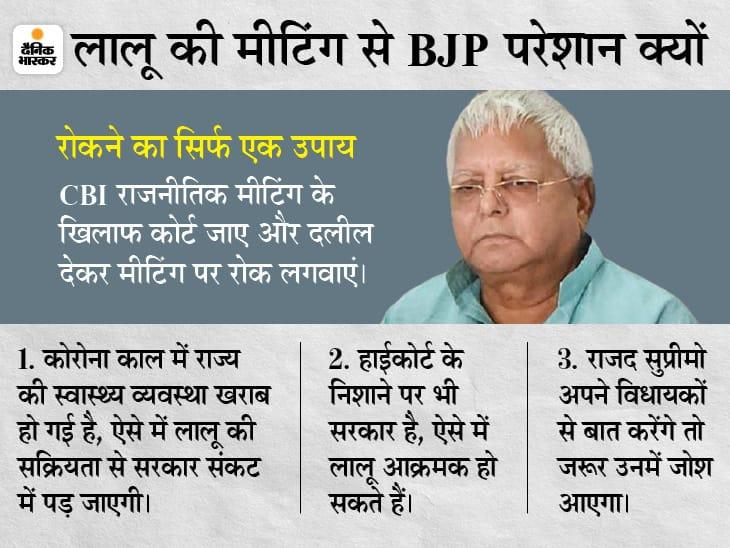 9 मई की वर्चुअल मीटिंग पर कोर्ट जा सकती है CBI; वजह कि जमानत बीमारी पर मिली, अब राजनीतिक काम कर रहे|बिहार,Bihar - Dainik Bhaskar