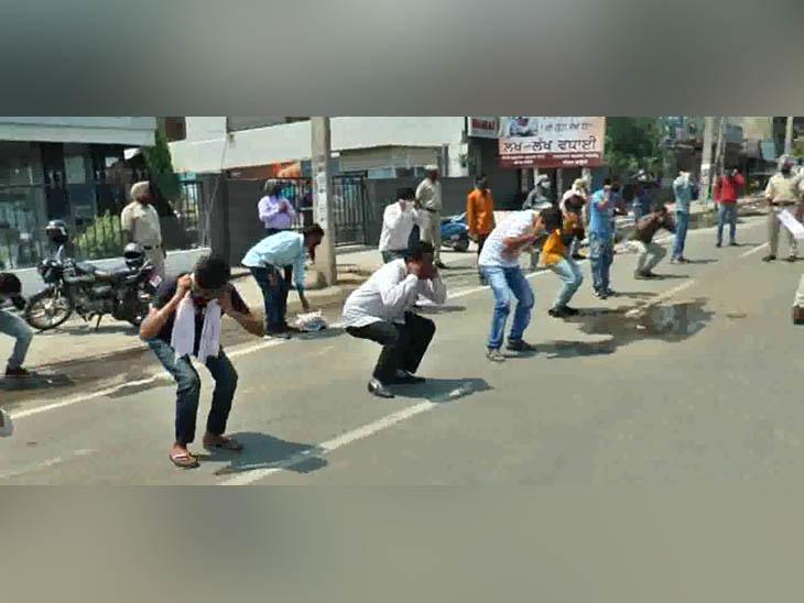 अंबाला में बेवजह घूम रहे लोगों को पुलिस ने लगवाई उठक-बैठक, कहा- दोबारा बाहर न निकलें|हरियाणा,Haryana - Dainik Bhaskar