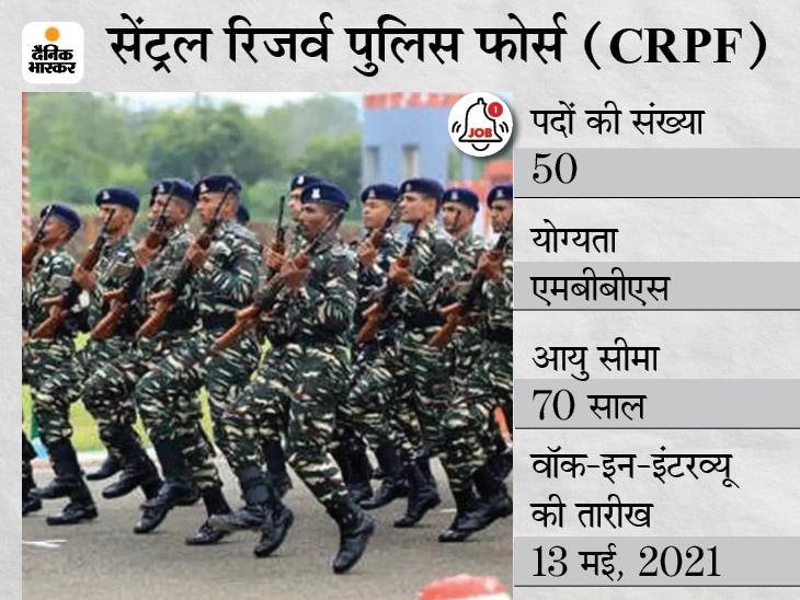 CRPF ने जनरल ड्यूटी मेडिकल ऑफिसर के पदों पर भर्ती के लिए मांगे आवेदन, 13 मई को होगा वॉक-इन-इंटरव्यू करिअर,Career - Dainik Bhaskar