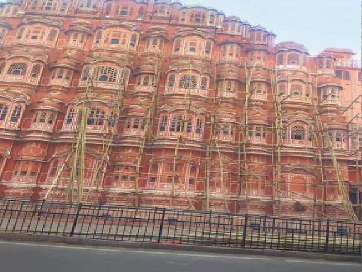 ऑक्सीजन की कमी से प्रोजेक्ट भी 'डेड', पाबंदियों के बीच हवामहल का 'मैकअप'|जयपुर,Jaipur - Dainik Bhaskar
