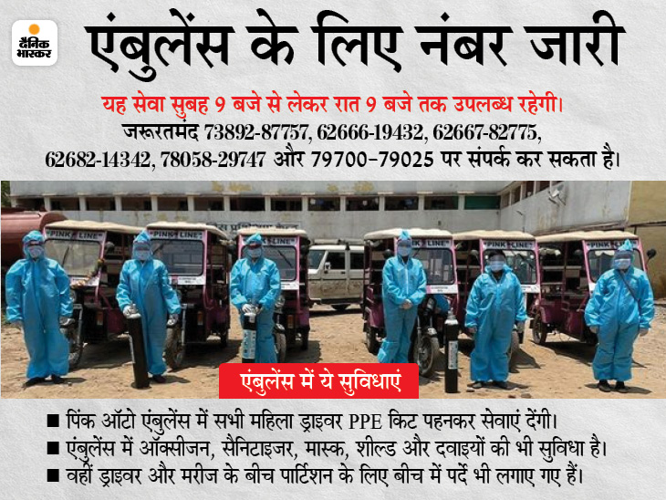 बिलासपुर में पिंक ऑटो को बनाया गया ऑक्सीजन सपोर्ट एंबुलेंस, जरूरतमंदों को शहर के 10KM के दायरे में मिलेगी फ्री सुविधा बिलासपुर,Bilaspur - Dainik Bhaskar