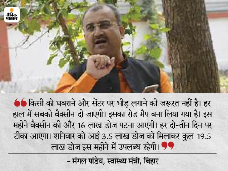 स्वास्थ्य मंत्री मंगल पांडेय ने भास्कर से कहा- इस महीने 16 लाख डोज और आएगी, हर दो दिन पर पटना पहुंचेगी खेप, सबको लगेगी वैक्सीन बिहार,Bihar - Dainik Bhaskar