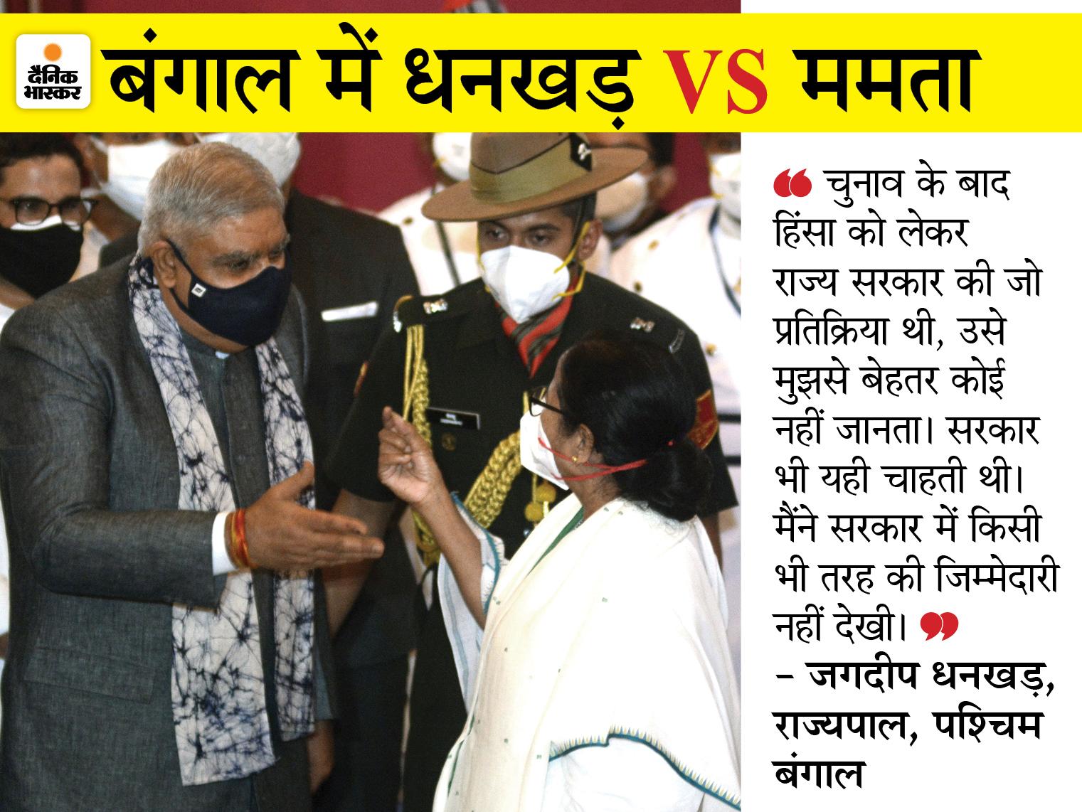 धनखड़ ने कहा- बंगाल में संविधान खत्म; रात में मुझे हिंसा की खबरें मिलती हैं, सुबह सब ठीक बताया जाता है|देश,National - Dainik Bhaskar