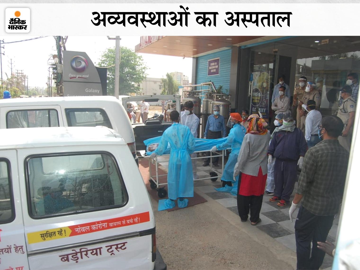 गैलेक्सी हॉस्पिटल में 22 अप्रैल की देर रात हुई थी पांच संक्रमितों की मौत। - Dainik Bhaskar