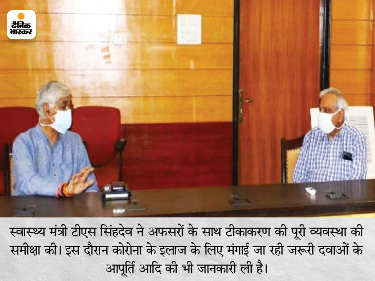 स्वास्थ्य मंत्री ने अफसरों के साथ टीकाकरण की पूरी व्यवस्था की समीक्षा की। इस दौरान कोरोना के इलाज के लिए मंगाई जा रही जरूरी दवाओं के आपूर्ति आदि की भी जानकारी ली है। - Dainik Bhaskar