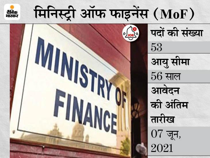 फाइनेंस मिनिस्ट्री ने रजिस्ट्रार समेत विभिन्न पदों पर भर्ती के लिए जारी किया नोटिफिकेशन, 07 जून आवेदन की आखिरी तारीख|करिअर,Career - Dainik Bhaskar