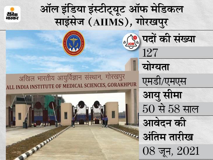 AIIMS गोरखपुर में फैकल्टी 'ग्रुप- ए' के 127 पदों पर भर्ती के लिए करें अप्लाई, 8 जून तक जारी रहेगी आवेदन प्रक्रिया|करिअर,Career - Dainik Bhaskar