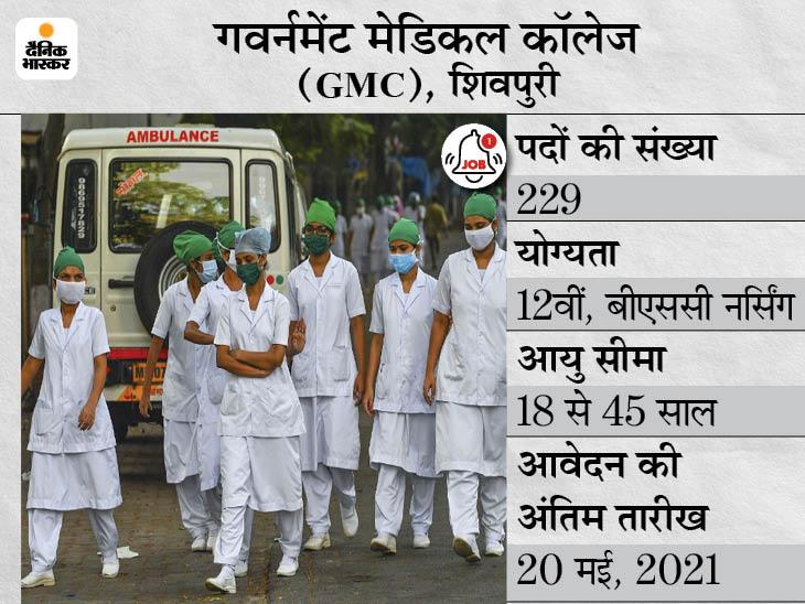 गवर्नमेंट मेडिकल कॉलेज ने स्टाफ नर्स के 229 पदों पर निकाली भर्ती, 20 मई आवेदन की आखिरी तारीख|करिअर,Career - Dainik Bhaskar