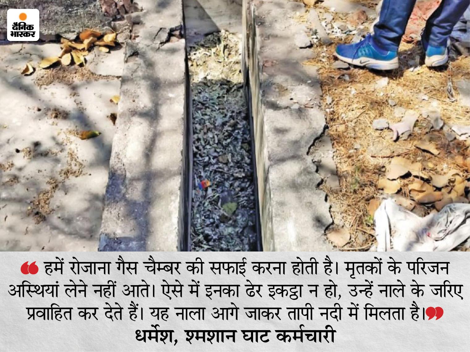 पिछले तीन महीनों 3 हजार से ज्यादा शवों का अंतिम संस्कार, 95% कोरोना मृतकों के परिजन नहीं ले जा रहे अस्थियां, नाले में हो रहा विसर्जन|गुजरात,Gujarat - Dainik Bhaskar