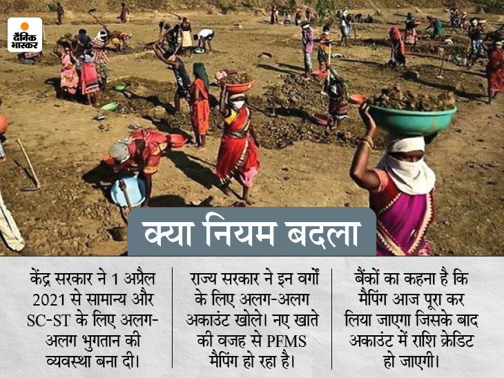 छत्तीसगढ़ में SC-ST मजदूरों को नहीं मिल पा रही मजदूरी, अफसरों ने कहा- केंद्र सरकार ने नियम बदला इसलिए बढ़ी दिक्कत|रायपुर,Raipur - Dainik Bhaskar
