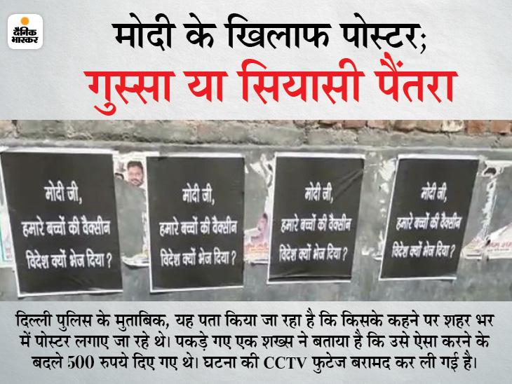 'मोदीजी हमारे बच्चों की वैक्सीन विदेश क्यों भेज दी' लिखे पोस्टर लगाए, दिल्ली पुलिस ने 25 लोगों को अरेस्ट किया देश,National - Dainik Bhaskar