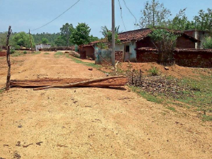 कोरोना को रोकने के लिए ग्रामीणों ने पेड़ गिराकर रास्ते को कर दिया बंद|अंकिरा,Ankira - Dainik Bhaskar