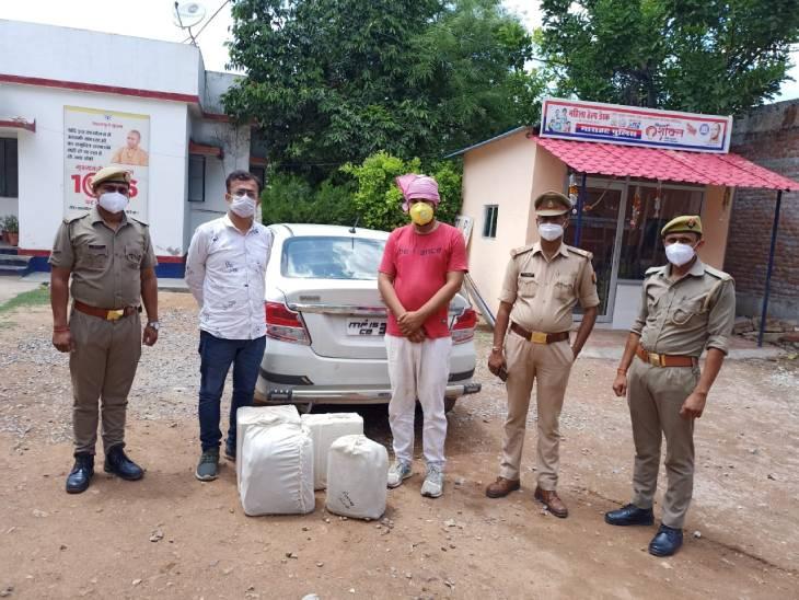ललितपुर से शराब खरीदकर मध्यप्रदेश के सागर जिले में ले जाकर बेचते थे, दो पकड़े गए; मौके से मिलीं 45 बोतलें|उत्तरप्रदेश,Uttar Pradesh - Dainik Bhaskar