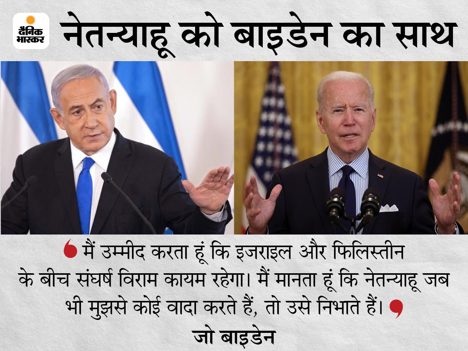 बाइडेन बोले- इजराइल की सुरक्षा को लेकर भी हमारी प्रतिबद्धता में बदलाव नहीं; फिलहाल समस्या का समाधान खोजने की जरूरत|विदेश,International - Dainik Bhaskar