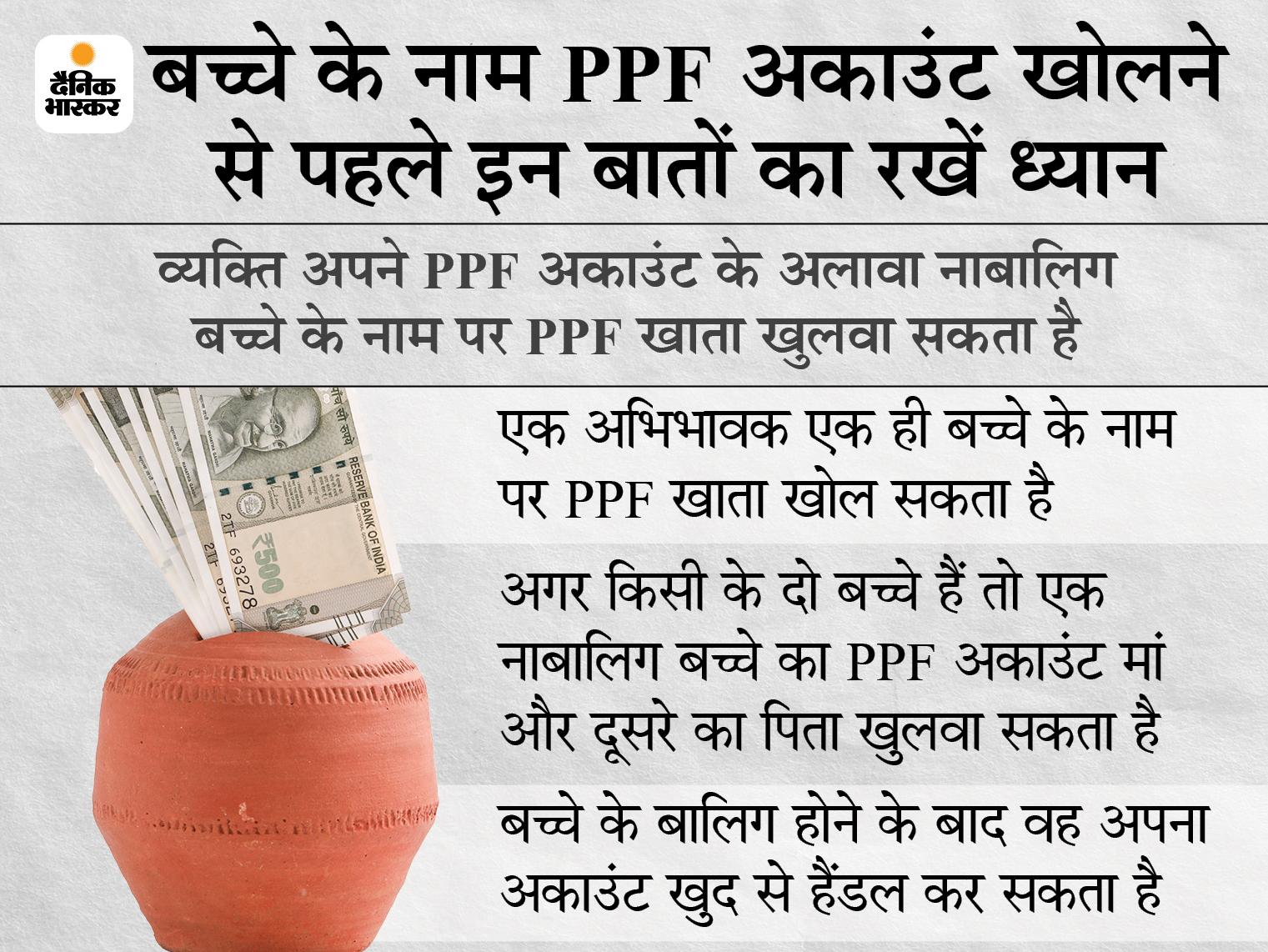 बच्चे के नाम पर खुलवा रहे हैं PPF अकांउट, तो पहले जान लें इसमें कितना पैसा कर सकते हैं जमा; यहां जानें इससे जुड़ी शर्तें|बिजनेस,Business - Dainik Bhaskar