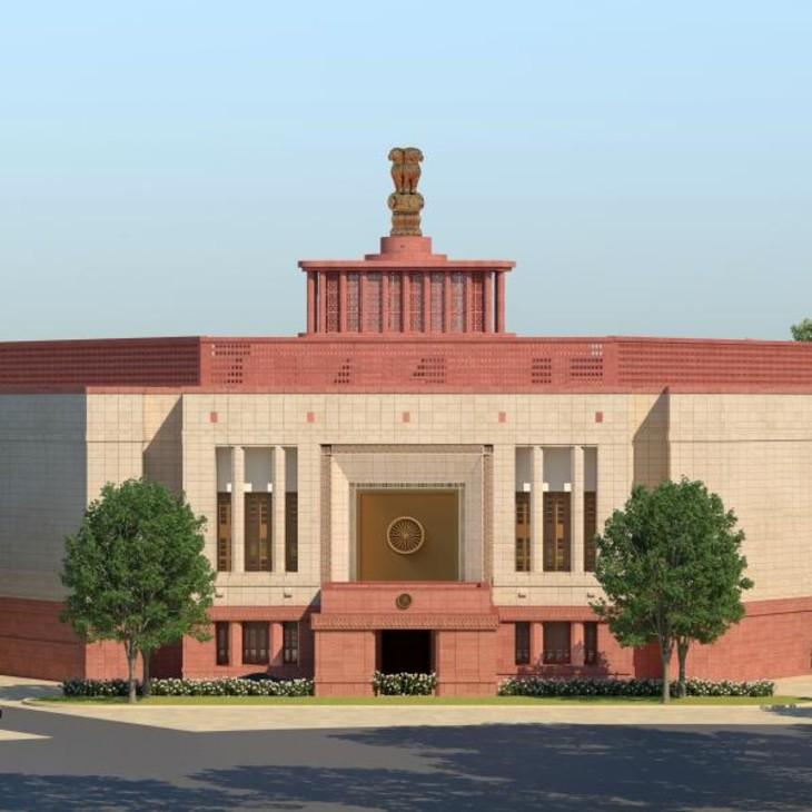 नए संसद भवन का प्रवेश द्वार कुछ इस तरह का होगा। संसद के ऊपर अशोक स्तंभ भी होगा।