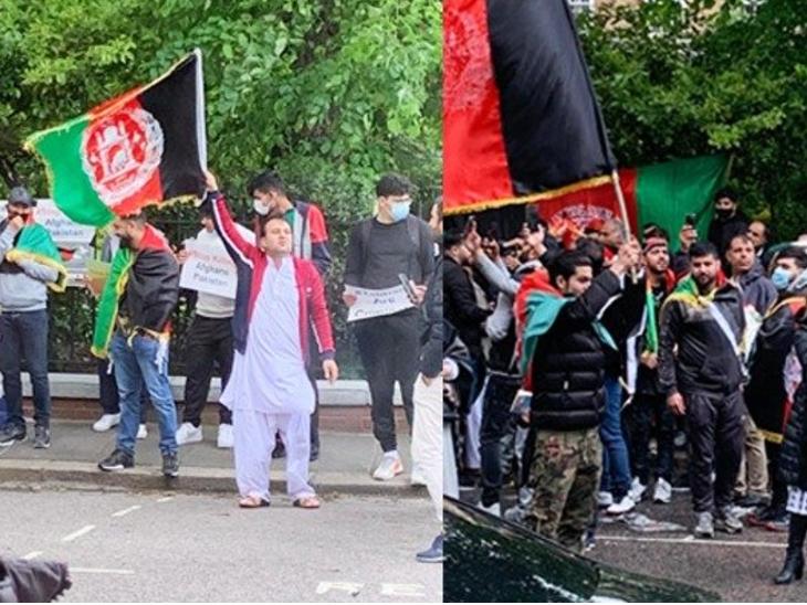 पाकिस्तानी हाईकमीशन के बाहर प्रदर्शन करते अफगान नागरिक। - Dainik Bhaskar