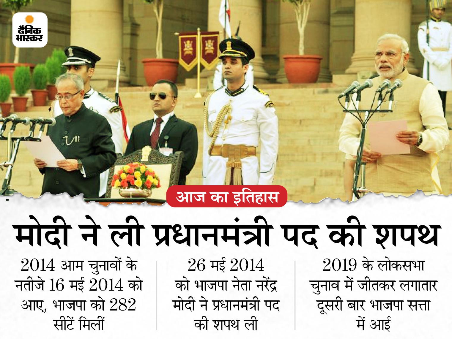 7 साल पहले आज ही के दिन देश के 15वें प्रधानमंत्री बने थे नरेंद्र मोदी, 30 साल बाद किसी पार्टी को मिला था बहुमत|देश,National - Dainik Bhaskar