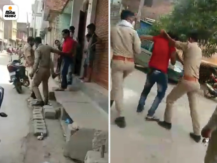मऊ में युवक को घर के बाहर से पुलिस घसीटकर ले जाते हुए।