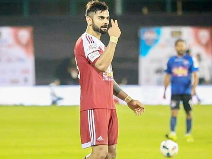 विराट कई बार एक्टर्स और प्लेयर्स के बीच हुए फुटबॉल मैच में हिस्सा लेते रहे हैं। - Dainik Bhaskar