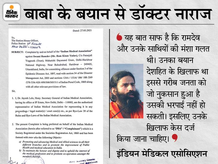 IMA ने दिल्ली और रायपुर में पुलिस कंप्लेन की; महामारी कानून, आपदा कानून और राजद्रोह के तहत FIR की मांग|देश,National - Dainik Bhaskar