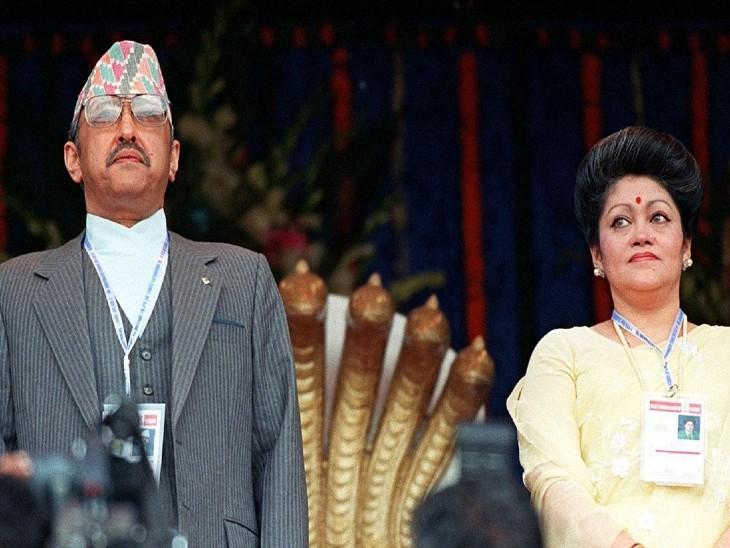 राजा बीरेंद्र और उनकी पत्नी रानी ऐश्वर्या।