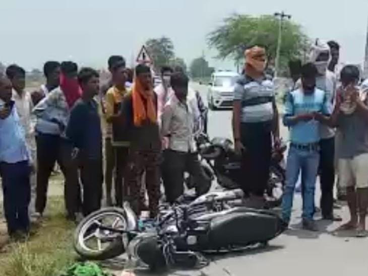 कानपुर में तेज रफ्तार ट्रक ने बाइक सवार युवक और महिला को कुचला, दोनों की मौके पर मौत कानपुर,Kanpur - Dainik Bhaskar