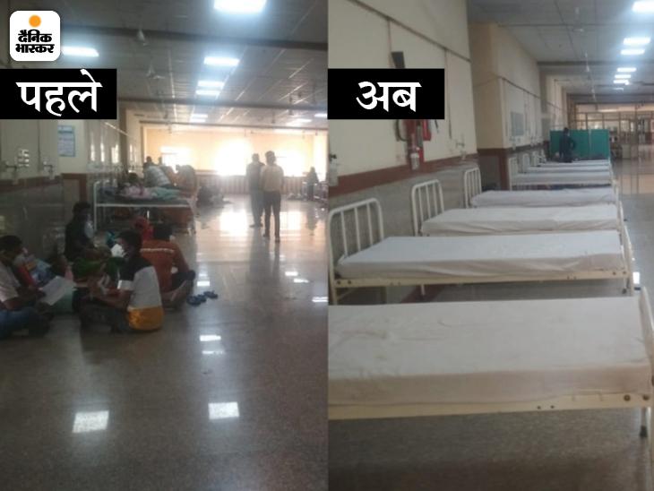RUHS और SMS में 50 फीसदी बेड खाली, आईसीयू-वेंटिलेटर के लिए अब भी वेटिंग; ऑक्सीजन की डिमांड आधी हुई|जयपुर,Jaipur - Dainik Bhaskar