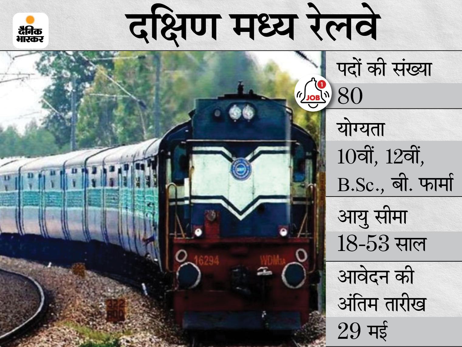 दक्षिण मध्य रेलवे ने मेडिकल स्टाफ के विभिन्न पदों के लिए मांगे आवेदन, बिना परीक्षा सीधे इंटरव्यू के जरिए होगी भर्ती करिअर,Career - Dainik Bhaskar