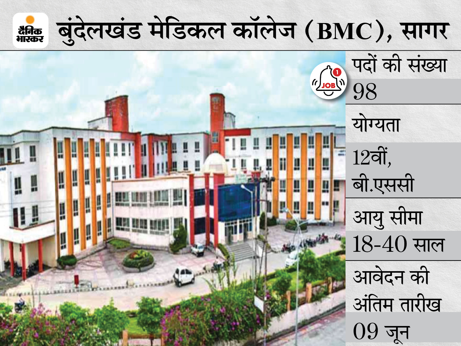 बुंदेलखंड मेडिकल कॉलेज, सागर ने स्टाफ नर्स के 98 पदों पर निकाली भर्ती, 9 जून आवेदन की आखिरी तारीख करिअर,Career - Dainik Bhaskar