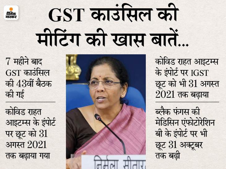 GST काउंसिल की बैठक के बाद वित्त मंत्री का ऐलान- ब्लैक फंगस की दवा के इंपोर्ट पर छूट 31 अक्टूबर तक बढ़ी|बिजनेस,Business - Dainik Bhaskar