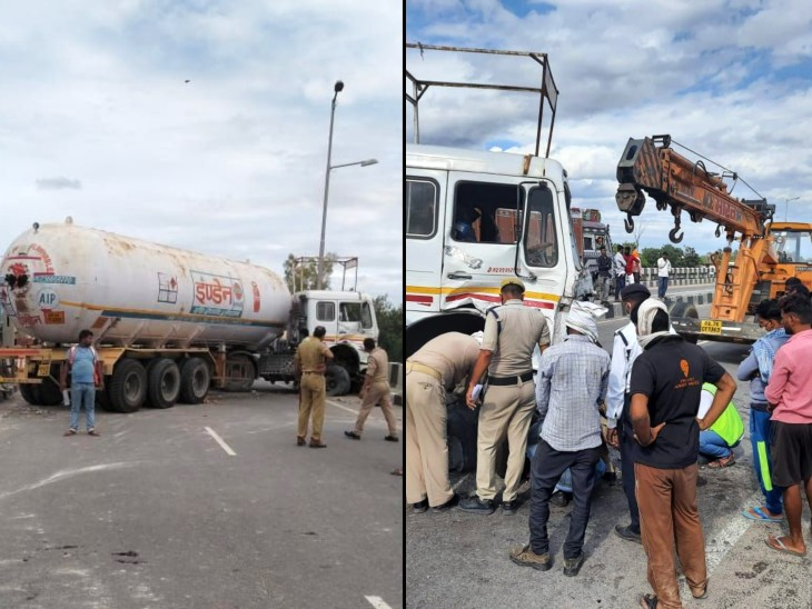 इंडेन गैस से भरे टैंकर का टायर फटा, दो घंटे तक हाईवे पर भीषण जाम; MP से वाराणसी जा रहा था|कानपुर,Kanpur - Dainik Bhaskar