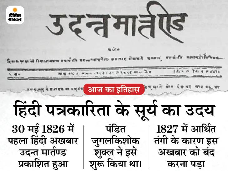 1826 में आज ही के दिन शुरू हुआ था दुनिया का पहला हिंदी अखबार, 19 महीने बाद ही करना पड़ा था बंद|देश,National - Dainik Bhaskar