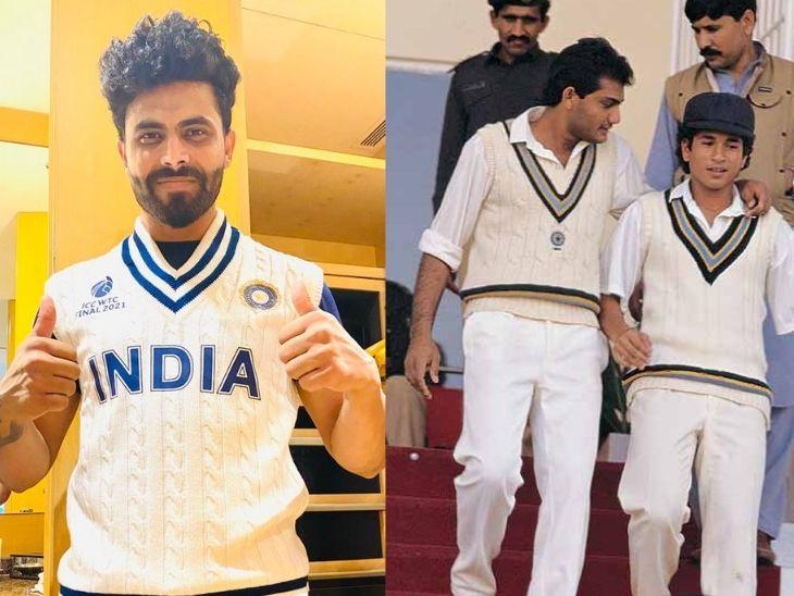 टीम इंडिया के ऑलराउंडर रवींद्र जडेजा ने दिखाई जर्सी की झलक, लिमिटेड ओवर क्रिकेट में भी रेट्रो जर्सी इस्तेमाल हो रही क्रिकेट,Cricket - Dainik Bhaskar