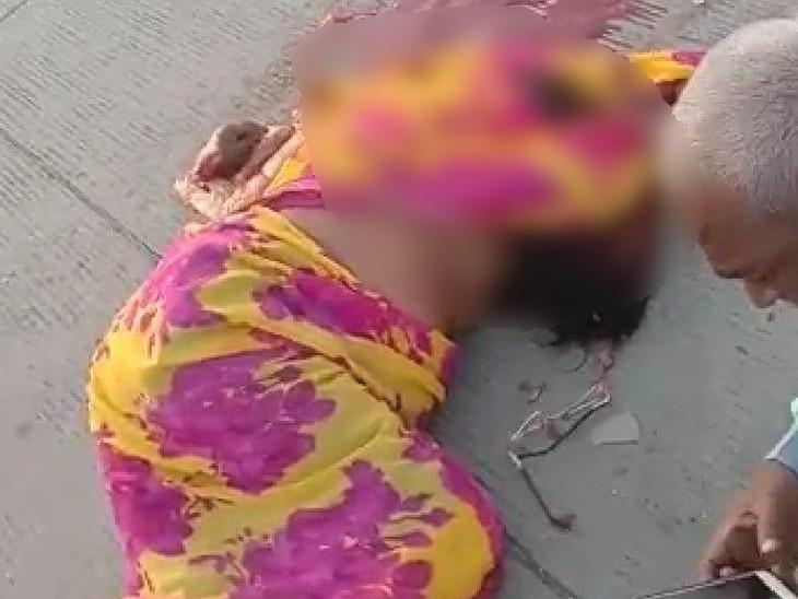 दर्शन कर लौट रहे बुजर्ग पति-पत्नी को प्याज से भरे ट्रक ने पीछे से मारी टक्कर, महिला की मौके पर ही मौत|कोटा,Kota - Dainik Bhaskar