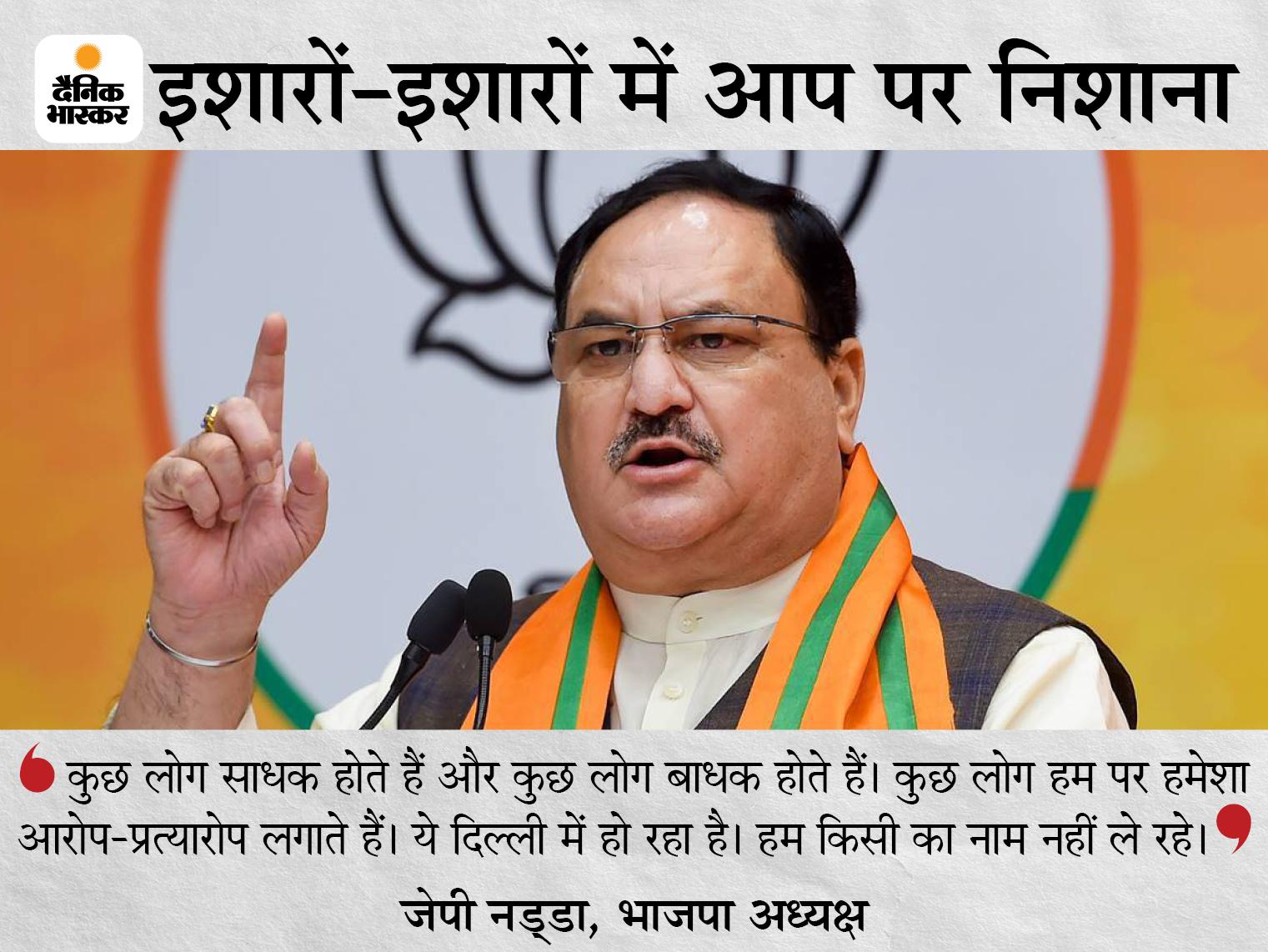 BJP अध्यक्ष बोले- कुछ लोग मोहल्ला क्लीनिक के नाम पर बड़ी-बड़ी बातें करते थे, महामारी आई तो सब केंद्र पर डाल दिया|देश,National - Dainik Bhaskar