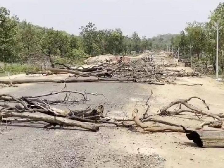 सड़क पर जंगल की सूखी लकड़ियों को रखकर ग्रामीणों ने इसे बंद कर दिया है। ये लकड़ियां कई किलोमीटर पर बिखेरी गई हैं।