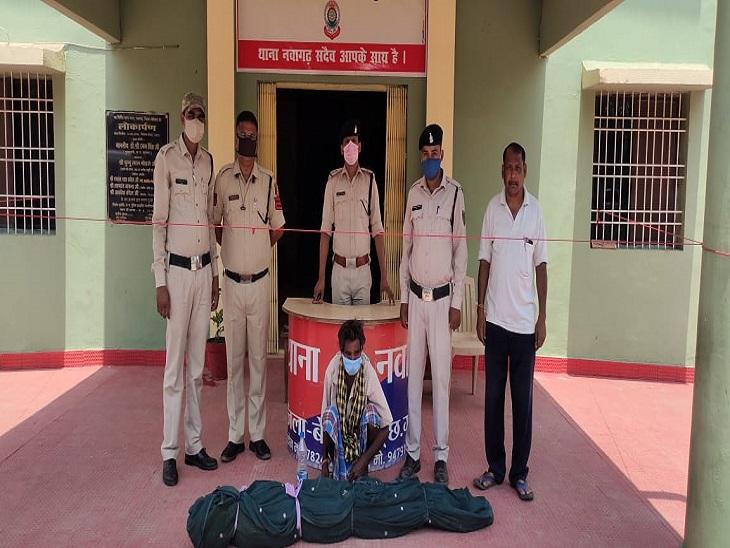 नवागढ़ पुलिस ने एक आरोपी को किया गिरफ्तार, मकान की बाड़ी से गांजे के पौधे बरामद|बेमेतरा,Bemetara - Dainik Bhaskar