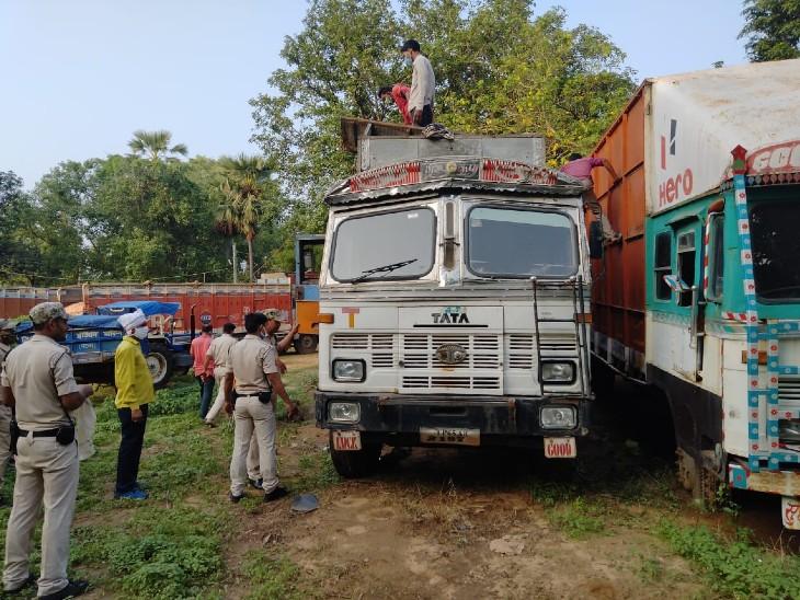 दो ट्रकों में छुपाकर ले जाई जा रही थी अंग्रेजी शराब की भारी खेप, पुलिस को चकमा देने के लिए अंदर बनाया गया था तहखाना|जहानाबाद,Jehanabad - Dainik Bhaskar